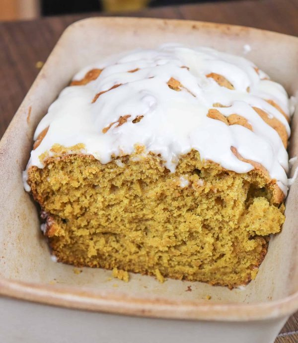 This is an easy pumpkin bread recipe with maple cream icing that is to die for.