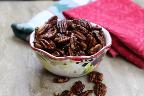 Stovetop Candied Pecans are a delicious Christmas treat. The glazed pecans are the perfect gift for the holidays.