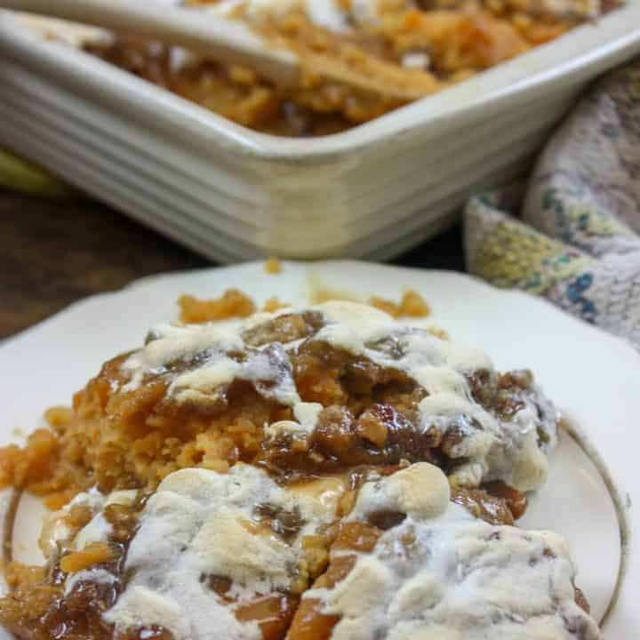 Picture of sweet potato casserole on a plate