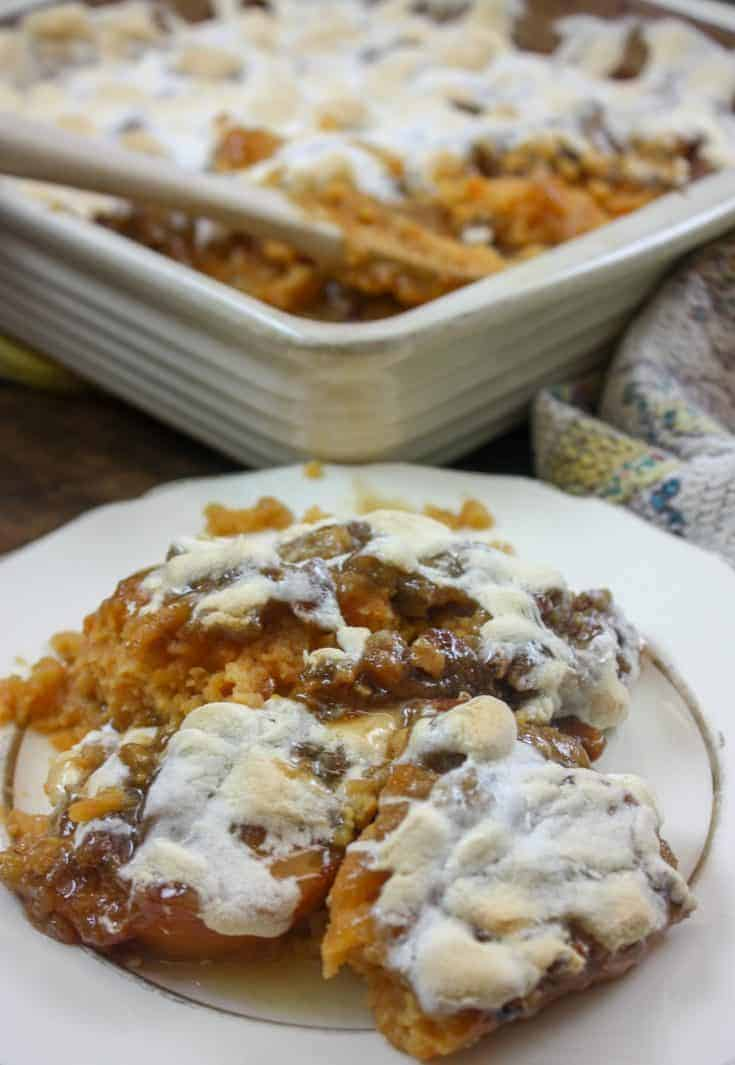 Savory Quick and Easy Holiday Sweet Potato Casserole with marshmallows and pecans is a delicious side dish. The recipe makes up in about 10 minutes and turns out amazing every time. Holidays will never be the same with this sweet potato casserole recipe. #sweetpotato#withmarshmallows #easy #withpecans #recipe #canned #best