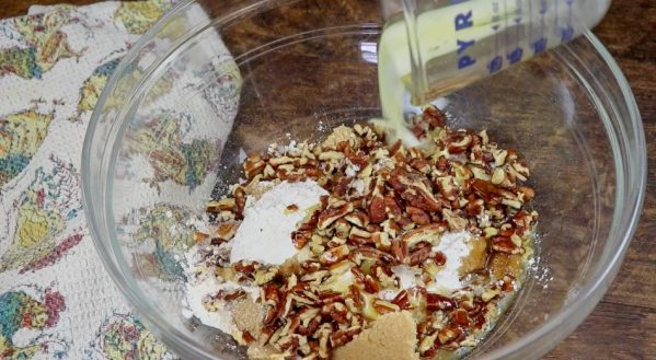 Picture of pecans, flour, and brown sugar in a bowl