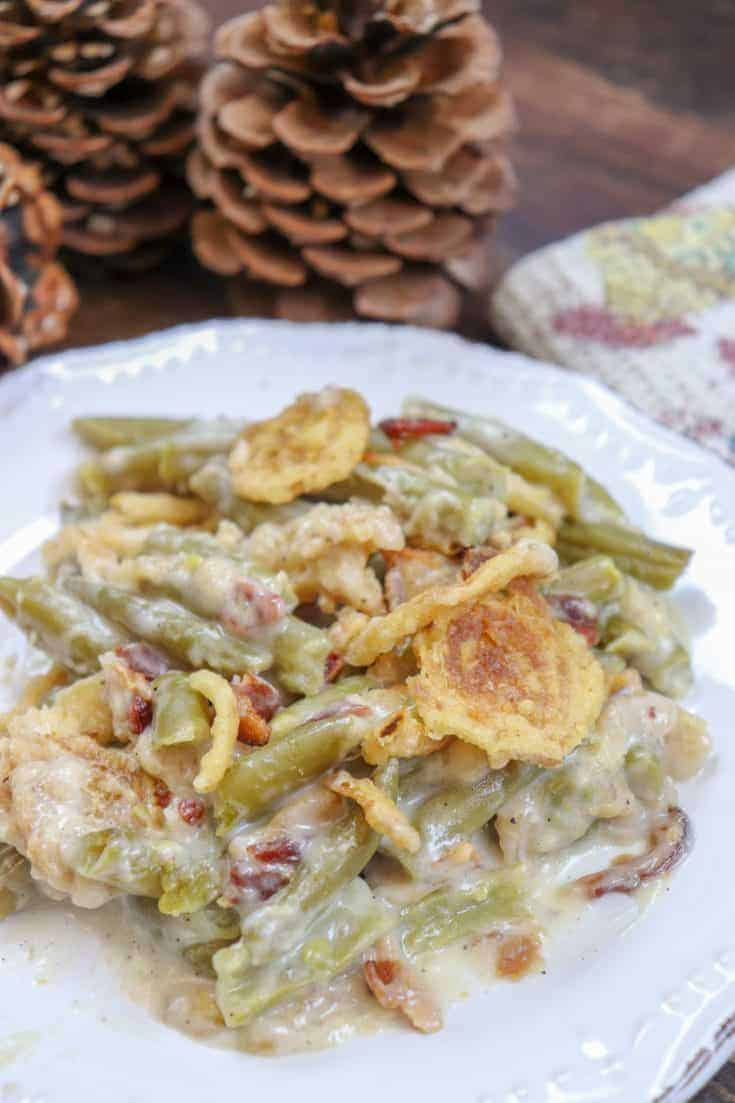 Y'all are gonna love this 5-Minute Green Bean Casserole. This classic green bean casserole recipe is simple and easy to make, costs less than ten dollars, and is the perfect side dish for Thanksgiving or Christmas. #easy #homemade #withbacon #homemade #recipe