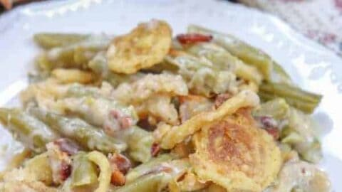 Picture of green bean casserole on a plate