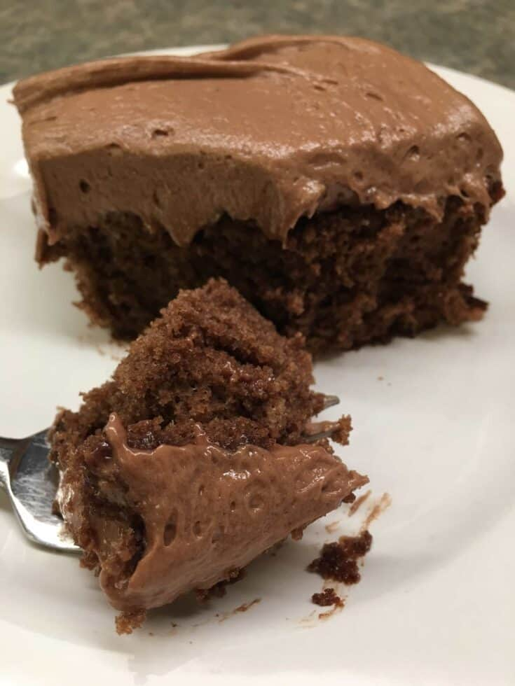 This Homemade Chocolate Cake Recipe is cinch to make and only requires a few ingredients. The easy chocolate cake recipe is surely going to become one of your favorite cakes, whether for a birthday, holiday, or for an after-meal dessert. #easy #recipe #moist #fromscratch #best #homemade #hersheys