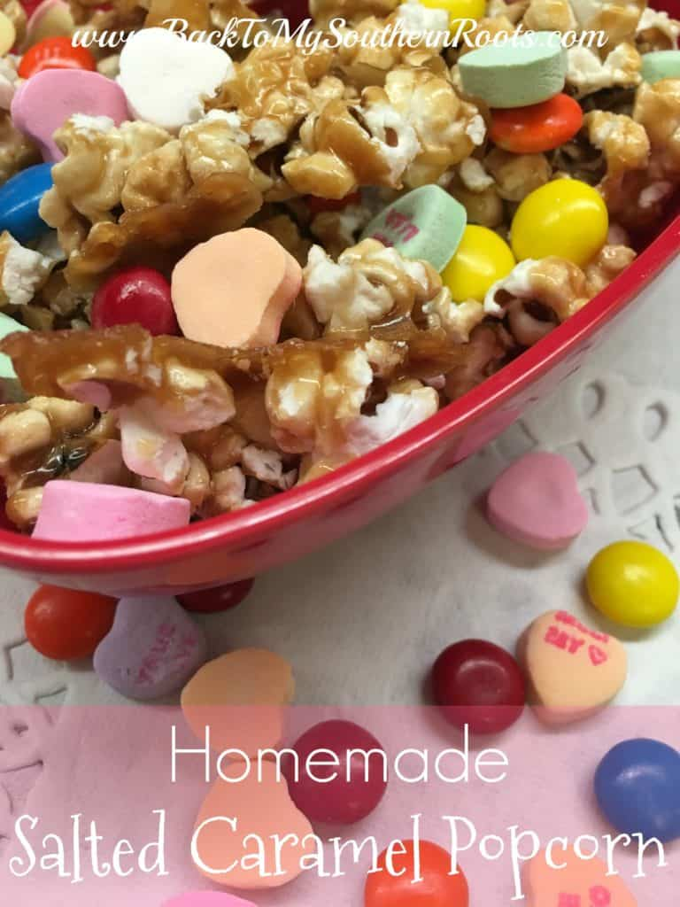 Homemade Salted Caramel Popcorn is a great snack for football parties, Valentine's Day gifts, teacher gifts, and just plain ole' good snacks.