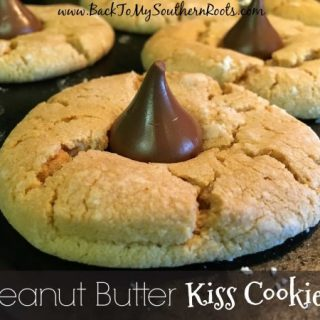 Picture of peanut butter kiss cookies on a counter.