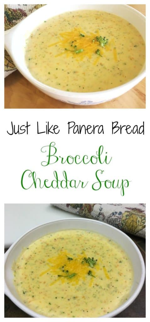 Wouldn't you love to be able to make some Panera Bread soup right at home? If you're a fan of Broccoli Cheddar Soup, you have to try this recipe. It tastes just like Panera Bread Broccoli Cheddar Soup. Click on the pin and grab the recipe today!