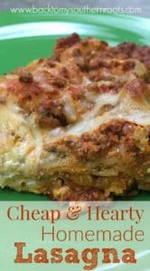 If you're looking for a delicious meal that will feed and fill up your hungry family for a small amount, try this cheap hearty beef homemade beef lasagna. The recipe is enough for more than one meal, keeping money in your pocket.