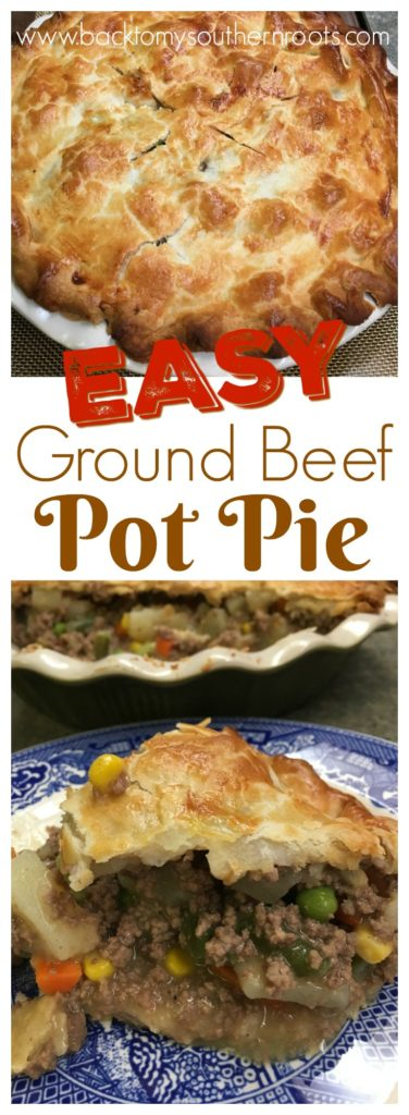 Two pictures of ground beef pot pie on a plate and in a pie shell.