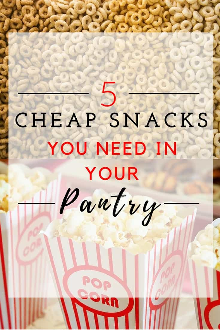 5 Cheap Snacks You Need In Your Pantry. Click on the pin and grab the recipes to some cheap and easy snacks.