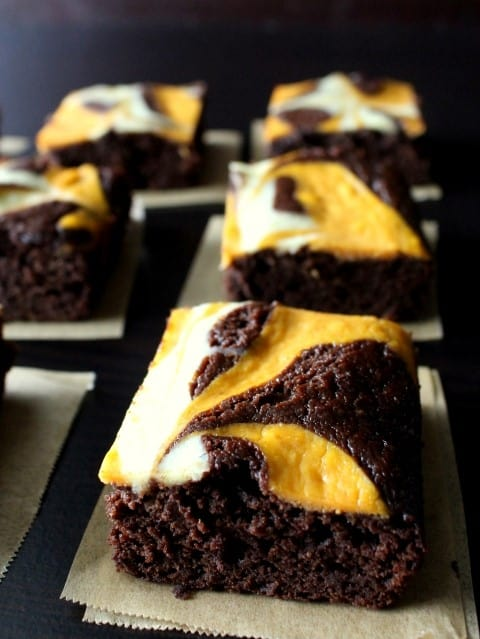 Pumpkin Cheesecake Swirled Brownies - Chocolate with Grace