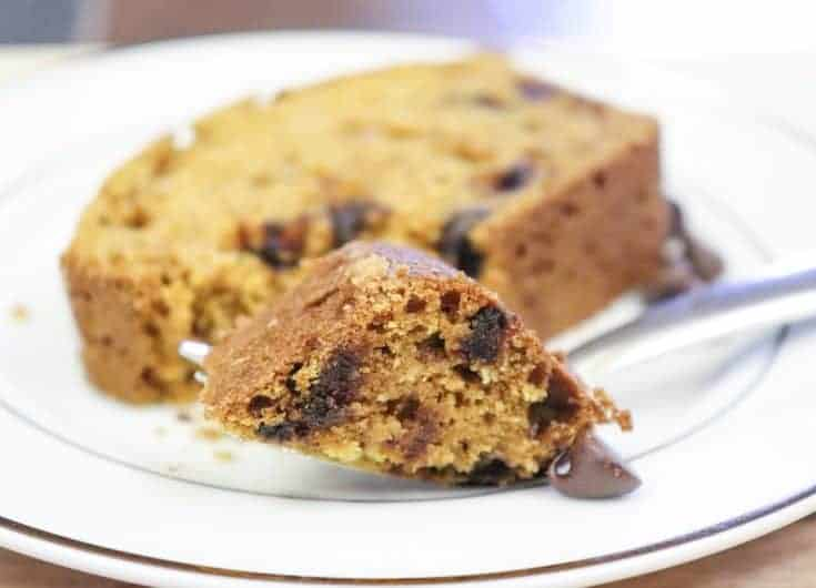 Easy Chocolate Chip Pumpkin Bread is a moist dessert recipe that is perfect for the Fall. This is the best pumpkin bread. I am tellin' ya, ya'll are gonna love it. #easy #recipe #chocolatechip #moist #homemade #pumpkin #Best #fromscratch