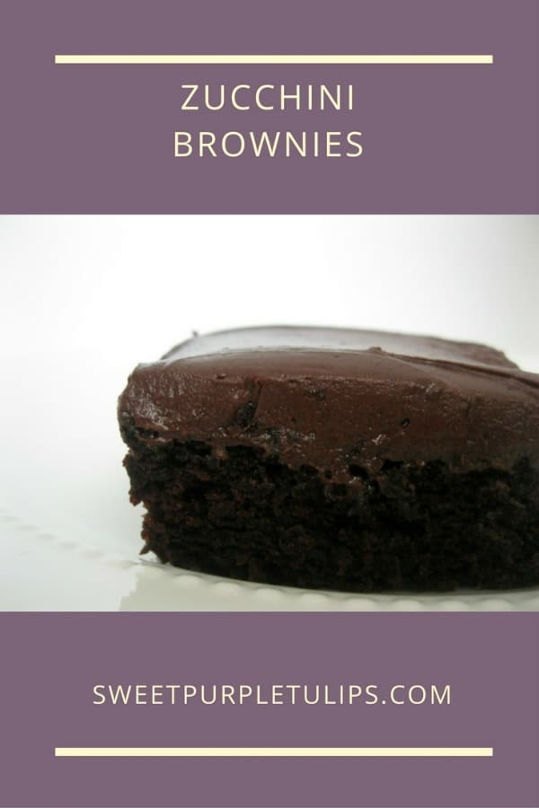 Zucchini Brownies - Sweet Purple Tulips. Join us for Foodie Friday!