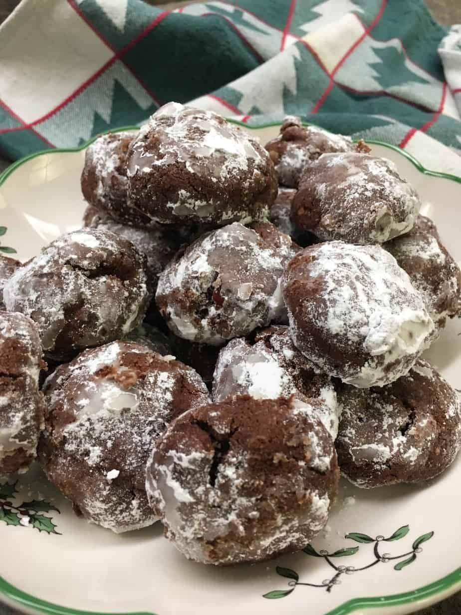 Chocolate Drop Powdered Cookies are a great holiday dessert recipe. They are easy to make and you will have plenty to take to all of your holiday parties.