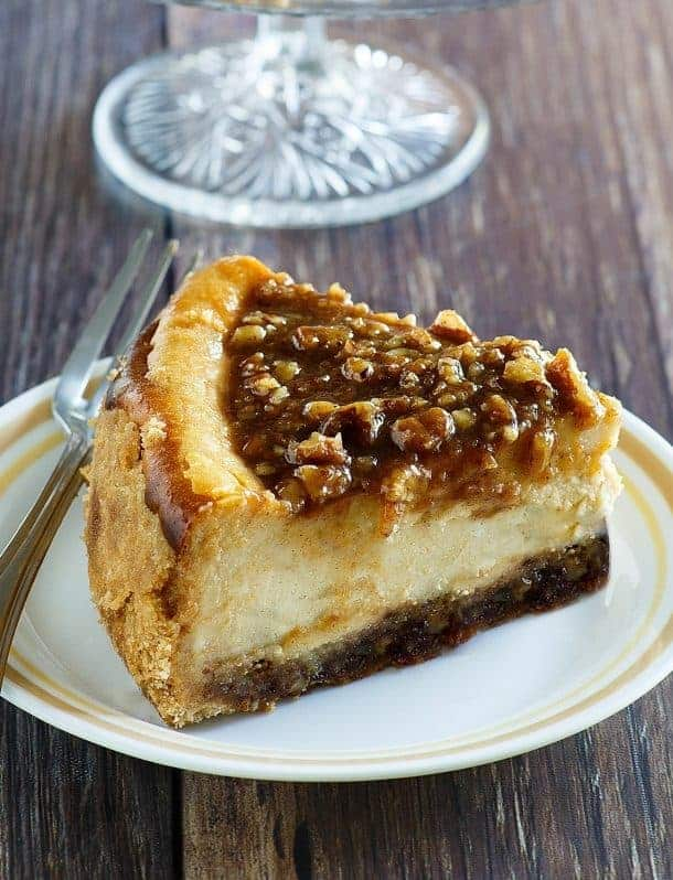 Pecan Pie Cheesecake for Thanksgiving and Christmas desserts
