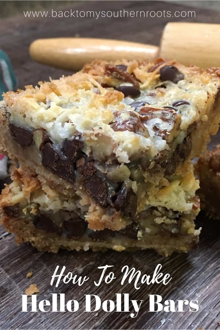 Hello Dolly Bars are one of the best and most delicious desserts that are easy and fun to make. They are a great holiday Christmas treat to take to parties, and share with friends. The combination of chocolate, coconut, chopped pecans, graham crackers, and sweetened condensed milk is going to have everyone lining up to grab one.