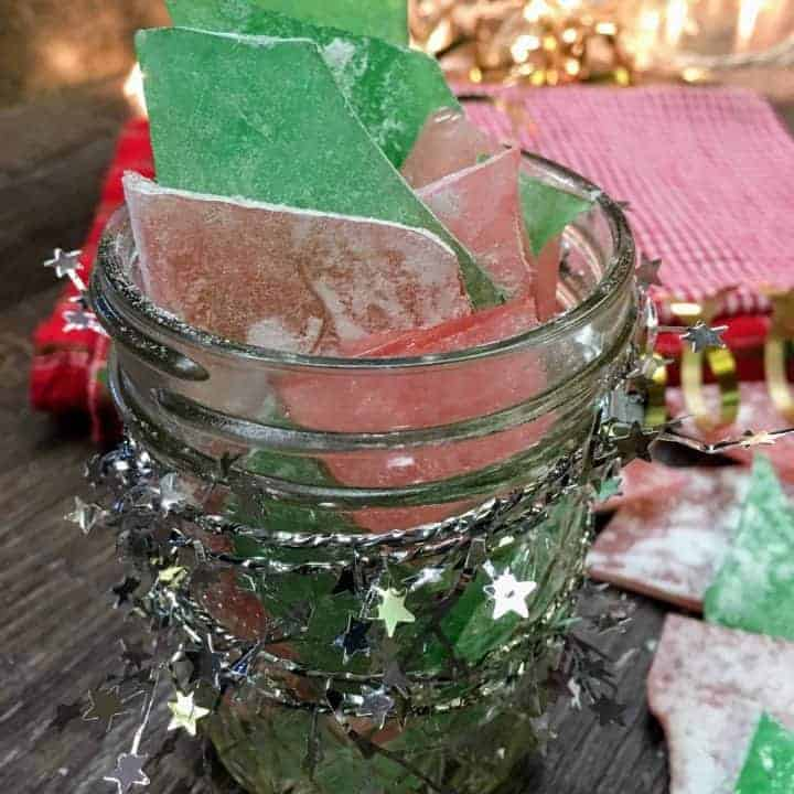 Rock candy, or glass candy, is a favorite holiday Christmas treat that is easy and fun to make. It makes great gifts for friends, family, neighbors, and teachers. It makes a beautiful centerpiece for any table, and you can choose any color to add to the candy.