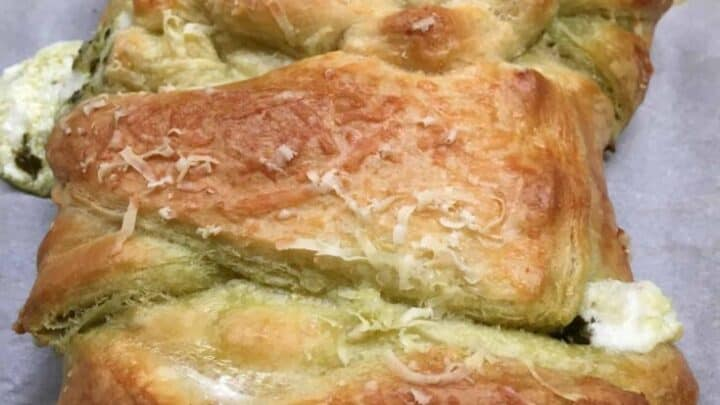 Cream cheese crescent roll recipe on a cookie sheet