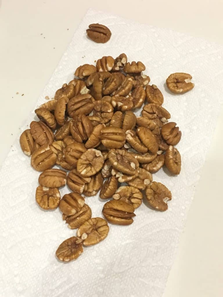 Junior pecans, from Georgia, on a paper towel