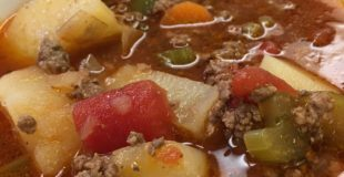 You are going to love this hamburger and vegetable soup. It's the perfect soup recipe to warm you up in the cold weather and it's easy to make. The hamburger and veggie soup recipe makes a large pot that will feed a family of 8, or you'll have plenty of leftovers. This is a very inexpensive, cheap meal that costs less than $15.