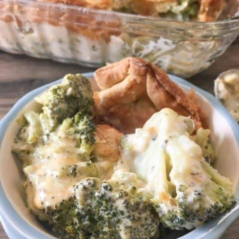 Broccoli Cheese Bake in a small dish on the counter