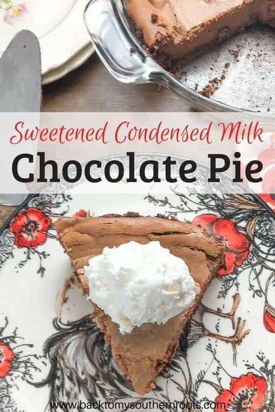 Sweetened Condensed Milk Chocolate Pie is a rich and delicious treat. The easy homemade recipe is perfect for any holiday including Christmas and Thanksgiving. #oldfashioned #homemade #easy #dessert #sweetenedcondensedmilk #Chocolatepie #pie #southern #best