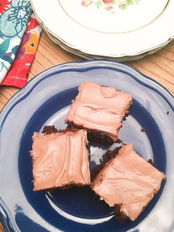 Homemade frosted brownies are easy to make and are the perfect holiday dessert