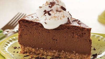 Chocolate Cheesecake on a plate.