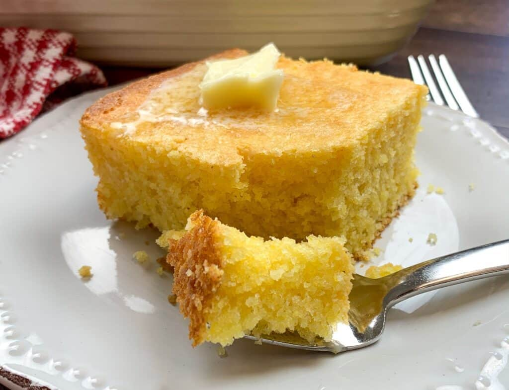 Cornbread with melting butter on top