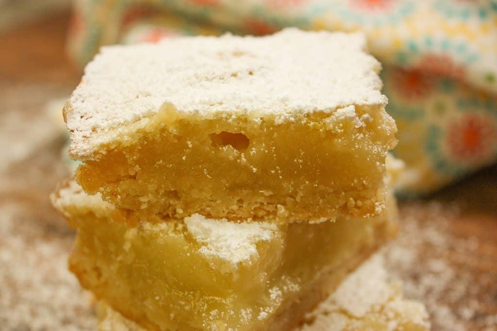 Lemon Bars slices on the counter,