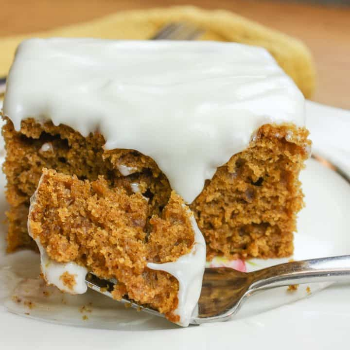 Pumpkin spice cake recipe is easy and quick to make and has a delicious cream cheese frosting.