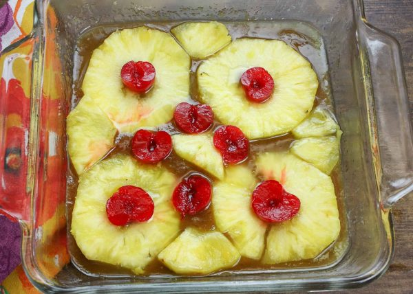 Delicious upside down pineapple cake from scratch.