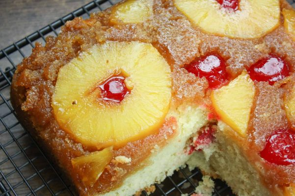 Homemade pineapple upside down cake is a fun and easy dessert to make. The pineapple bakes up soft and is sweet in flavor.