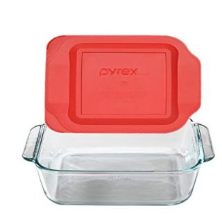 Pyrex 8x8 Square Baking Dish with Red Plastic Lid