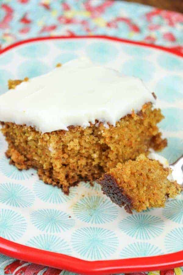 Carrot cake with cream cheese frosting is a delightful dessert.