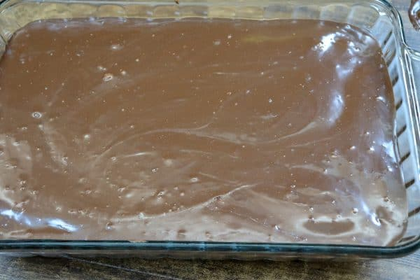 Picture of chocolate fudge brownies with chocolate fudge icing.