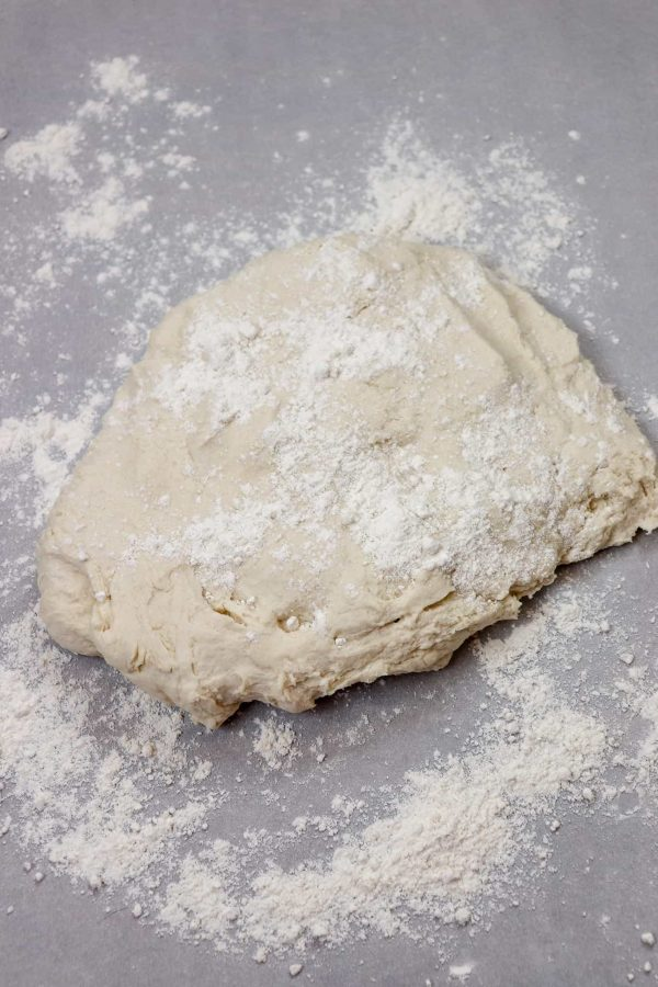 Picture of dough on a counter.