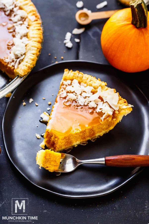 Picture of pumpkin pie on a plate
