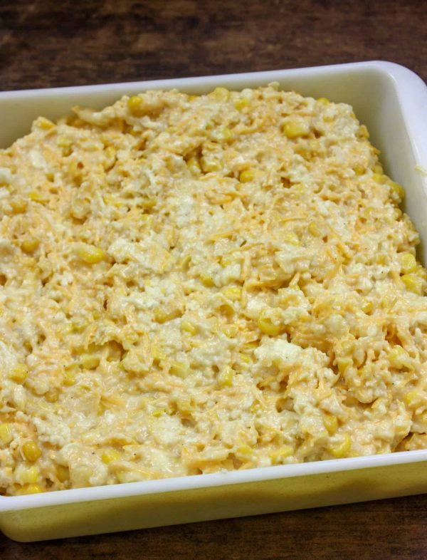 Picture of scalloped corn in a baking dish.