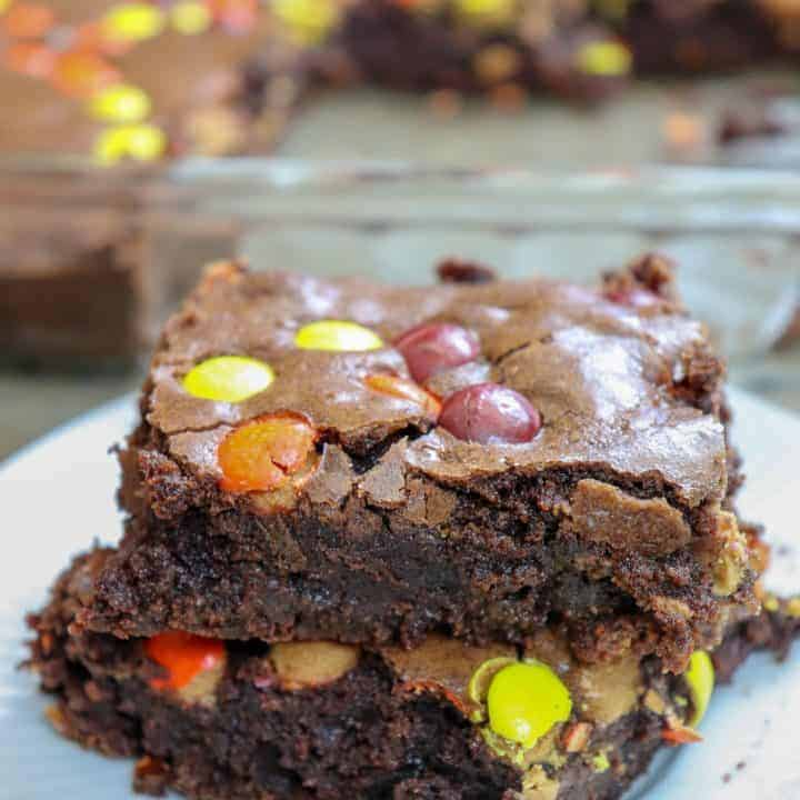 Picture of brownies with Reese's pieces.