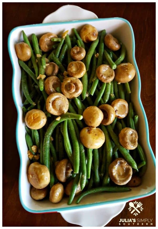 Picture of green beans with mushrooms