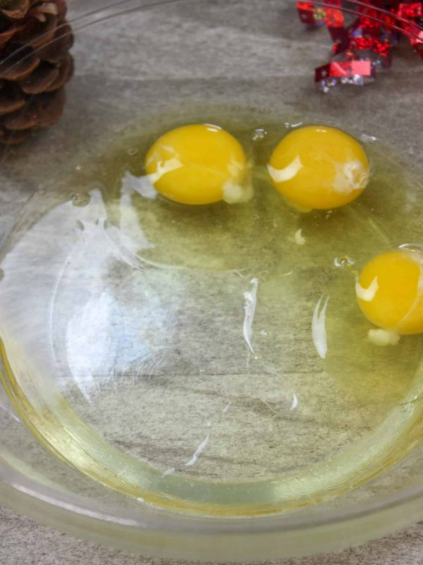 Picture of corn syrup and eggs in a bowl