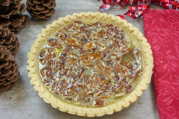 Picture of an unbaked pecan pie.