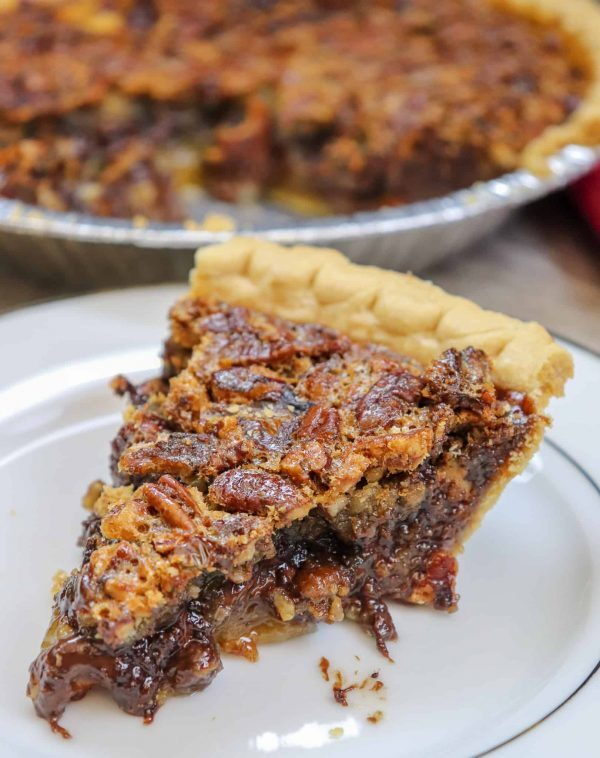 Picture of chocolate chip pecan pie on a plate