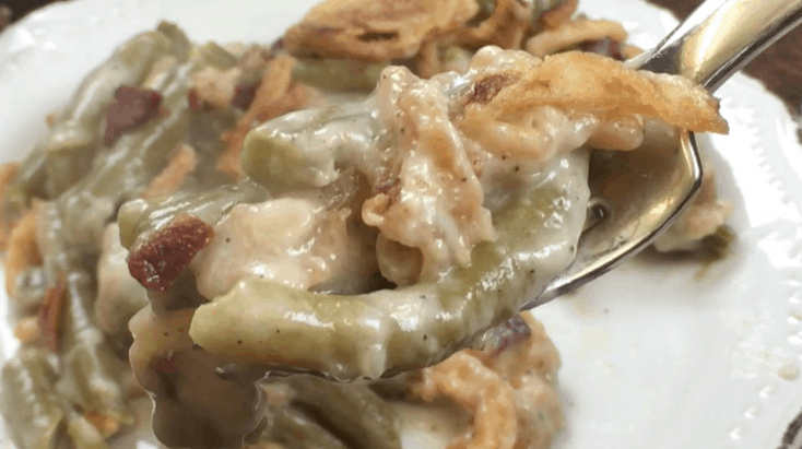 Green bean casserole on a fork