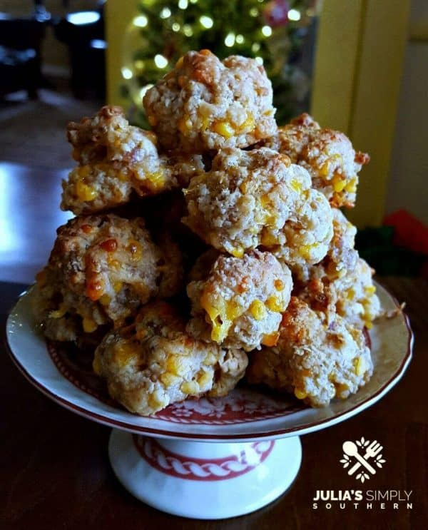 Picture of Easy Cream Cheese Sausage Balls on a Christmas plate