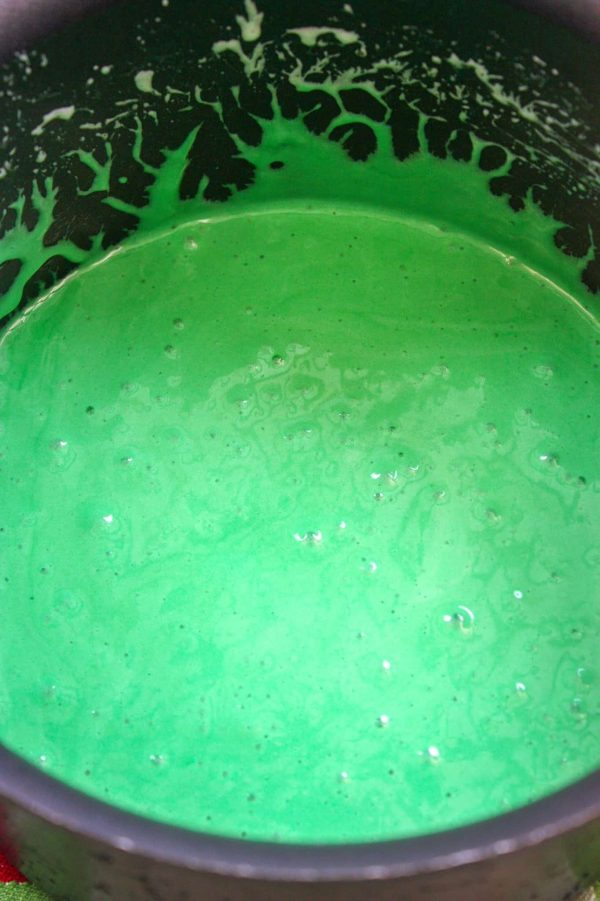 Picture of marshmallow and green food coloring