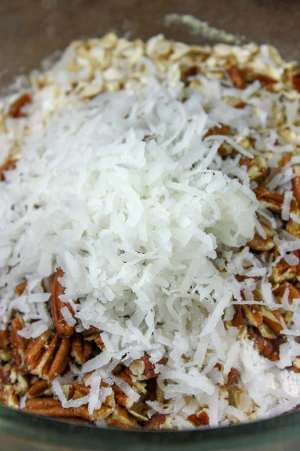 Picture of shredded coconut in a mixing bowl