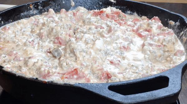 Picture of cream cheese dip in a skillet