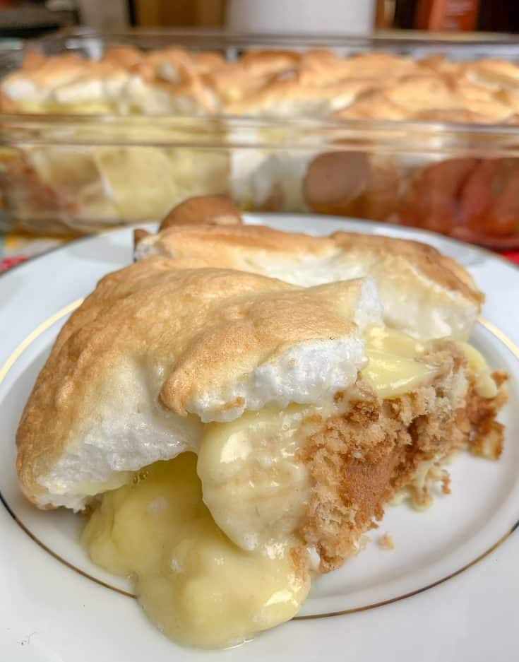 Homemade Banana Pudding is the perfect Southern dessert. The combination of vanilla pudding, made from scratch, vanilla wafers, fresh bananas, and meringue make up a delectable treat.#easy #homemade #recipe #fromscratch #southern #oldfashioned